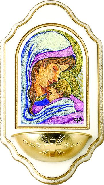 Acquasantiera legno Madonna con Bimbo