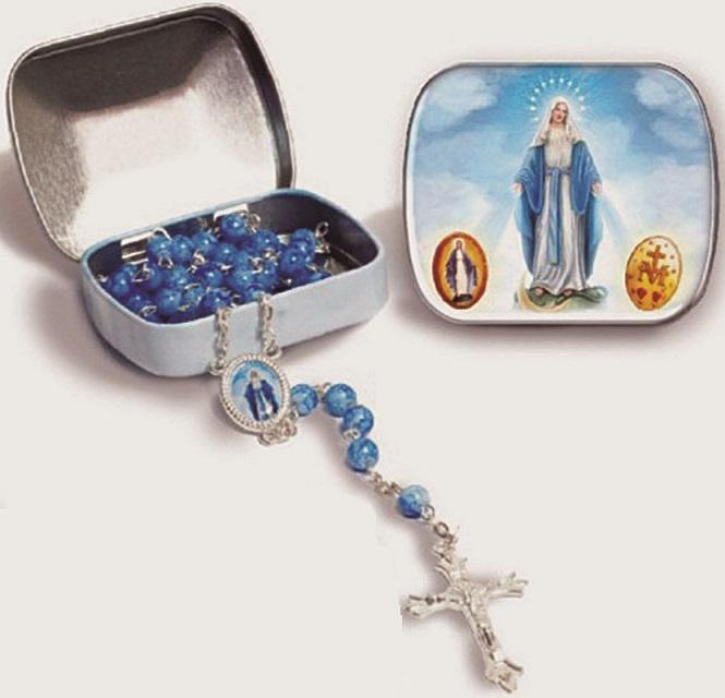 Porta rosario con rosario vetro