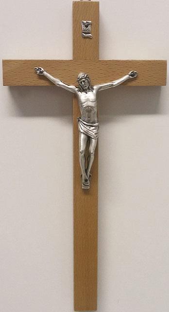 Croce legno cm. 25 corpo metallo