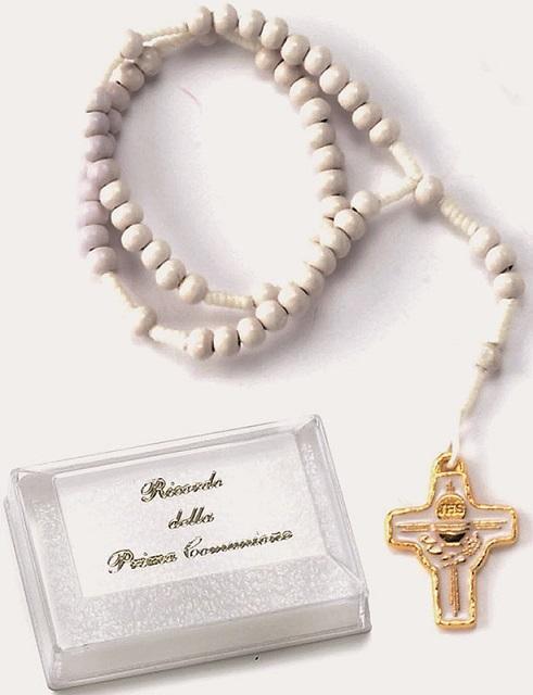 Corona rosario comunione in legno