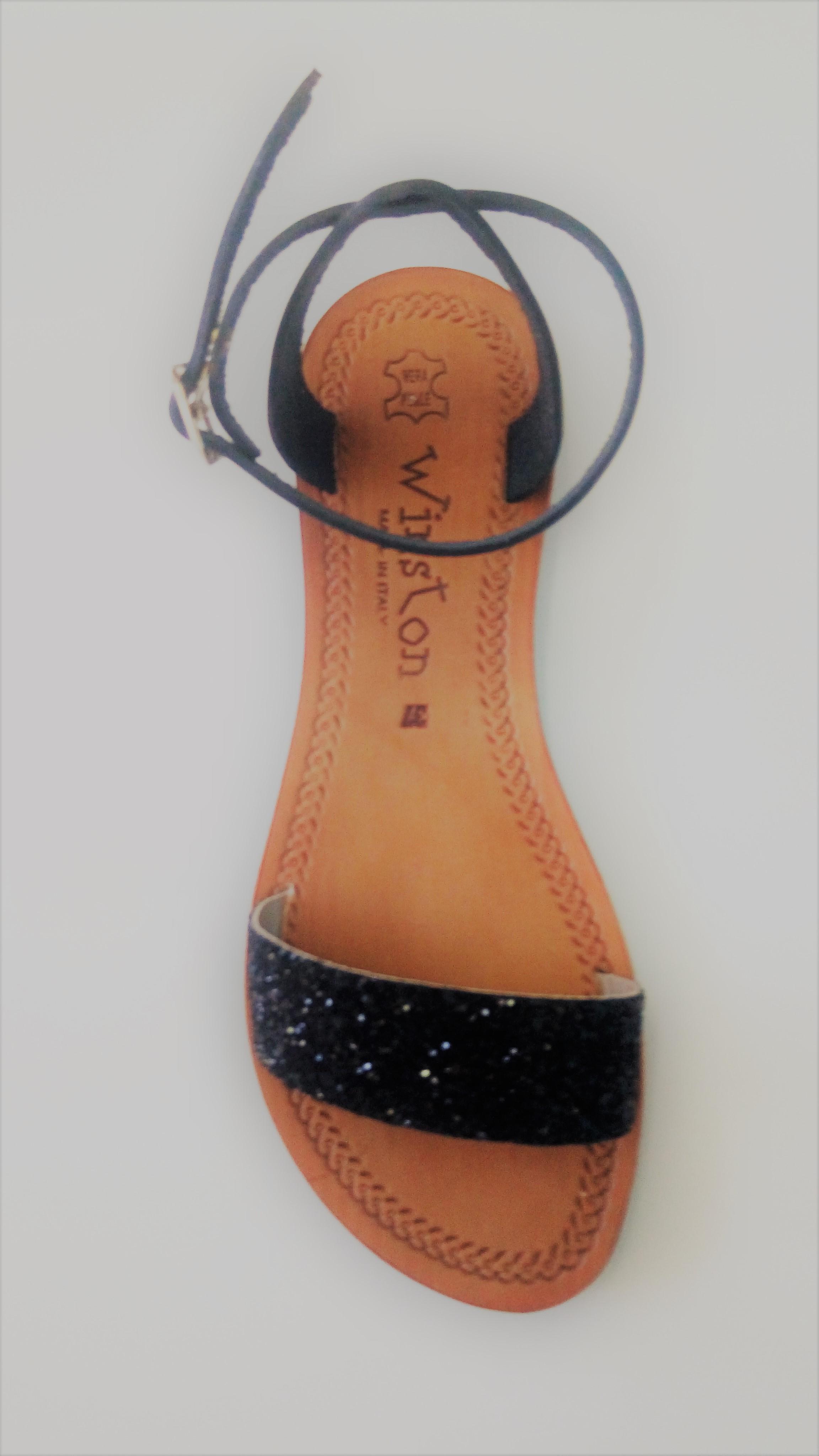 Sandali Donna Cuoio Da 6gyfb7vy Colore Glitter Nero Winston P0wXn8Ok
