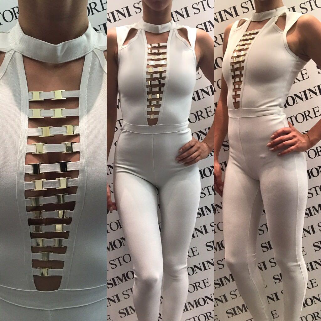 Tuta donna elasticizzata sexy con scollatura   colori Bianco Oro   Taglie S, M, L
