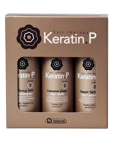 Keratin P Home Kit Box 3 Keratin treatment bottles 100ml  Biacre 'in