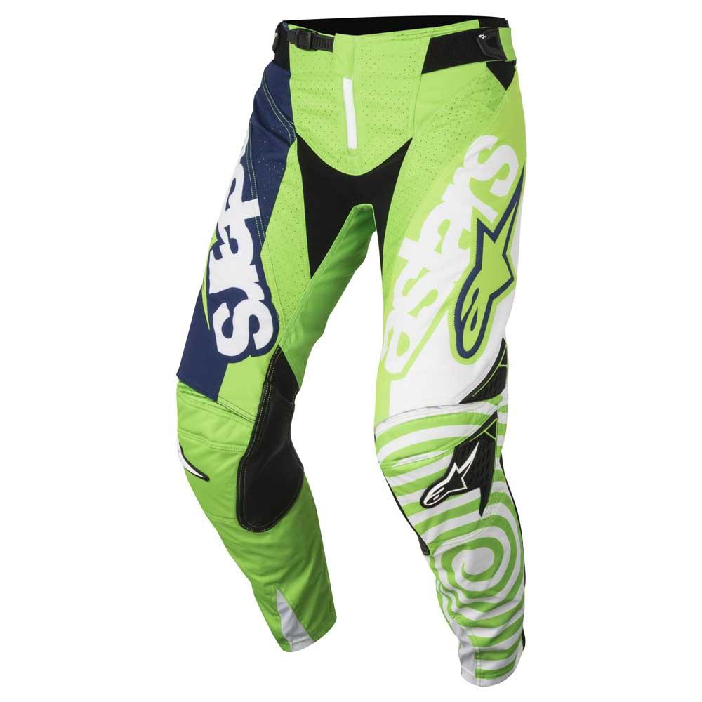 PANTALONI MOTO CROSS ALPINESTARS 2018 TECHSTAR VENOM GREEN FLUO WHITE DARK BLUE
