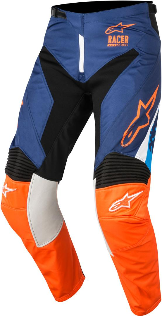 PANTALONI MOTO CROSS ALPINESTARS 2018 RACER SUPERMATIC DARK BLUE ORANGE FLUO AQUA
