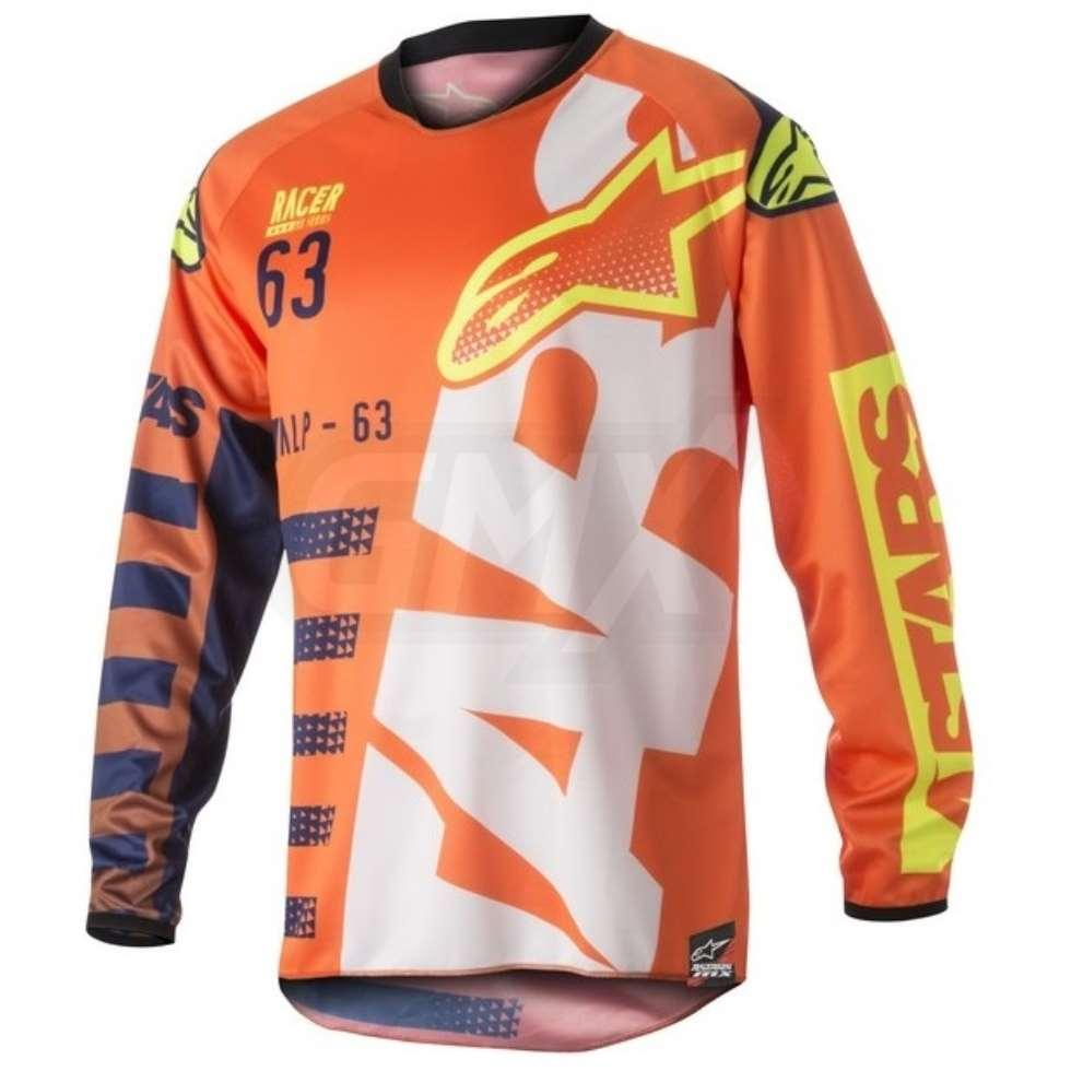 MAGLIA MOTO CROSS ALPINESTARS 2018 RACER BRAAP ORANGE FLUO DARK BLUE WHITE
