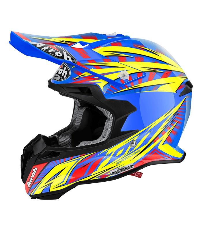CASCO MOTO CROSS AIROH TERMINATOR 2.1 LIGHTINING BLUE GLOSS