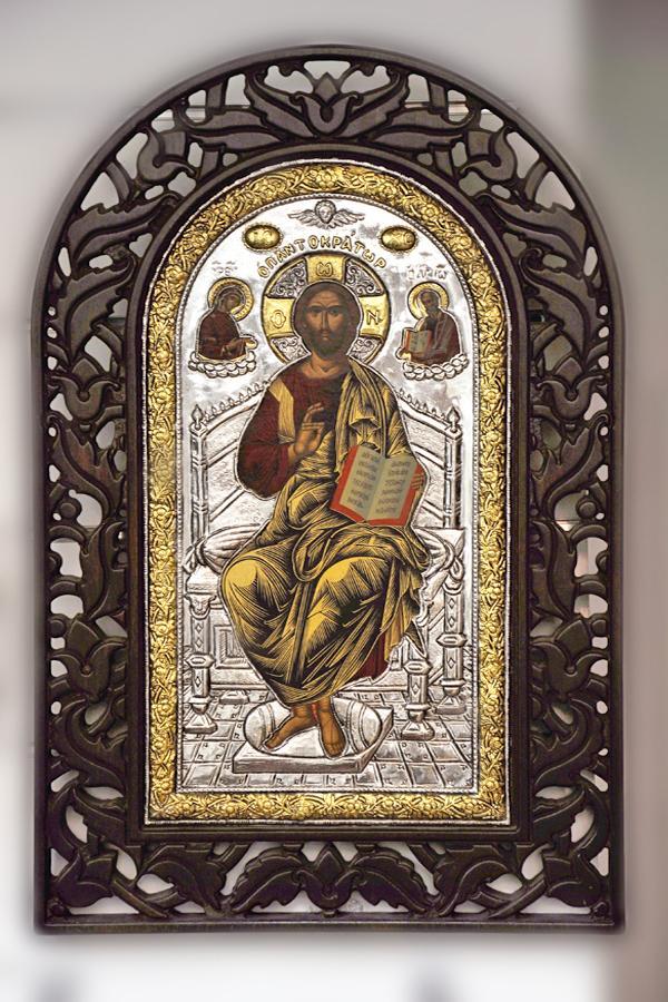 Icona Greca dipinta a mano e Riza in argento