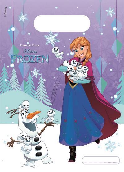 Disney Frozen Snowflakes sacchetti regalo party bag 23x16cm