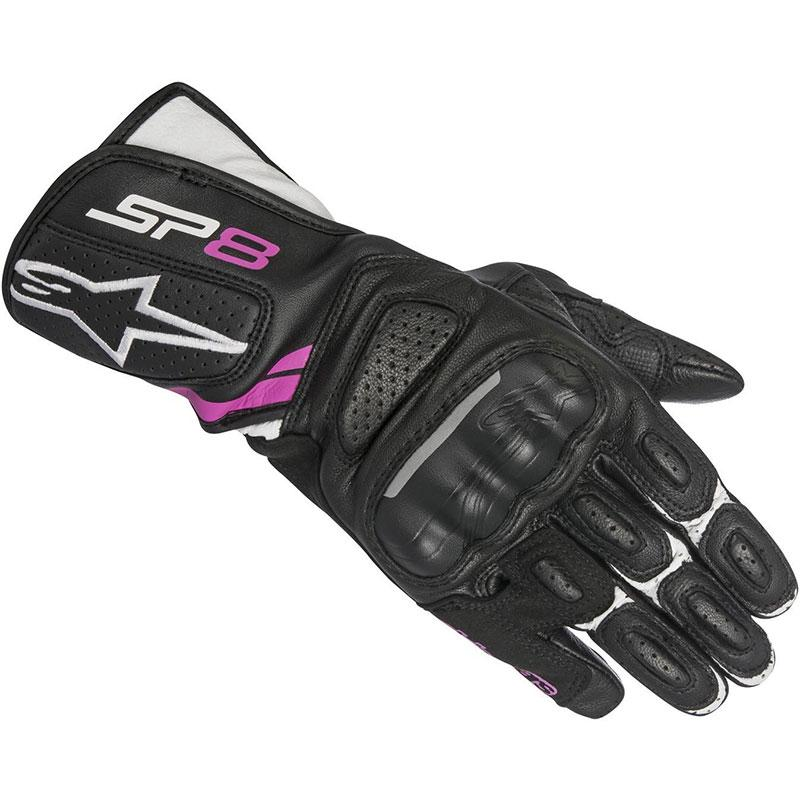 GUANTI MOTO DONNA ALPINESTARS SP-8 V2 IN PELLE BLACK WHITE FUCSIA