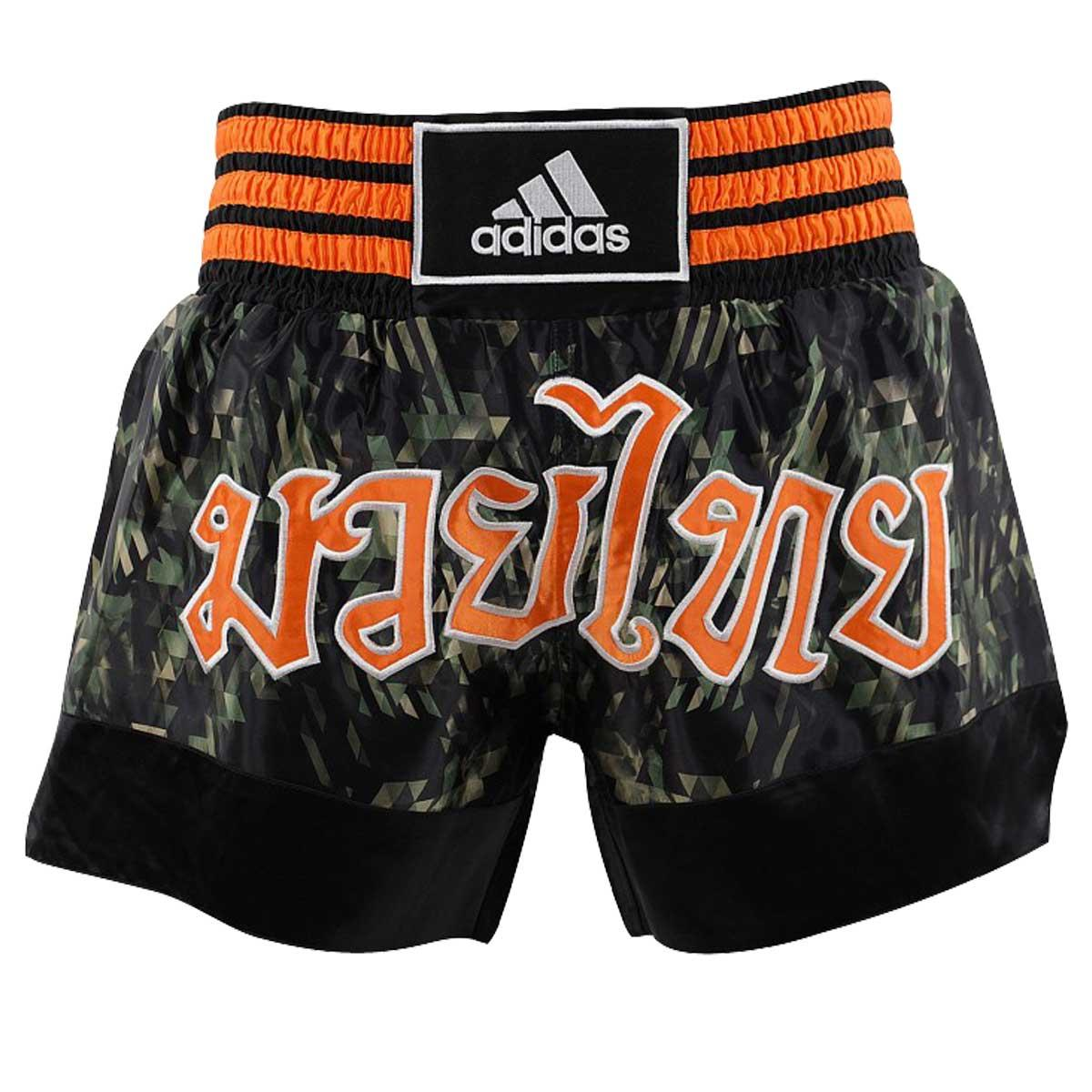 PANTALONCINI ADIDAS THAI BOXE KICKBOXING CAMO/ORANGE NEW