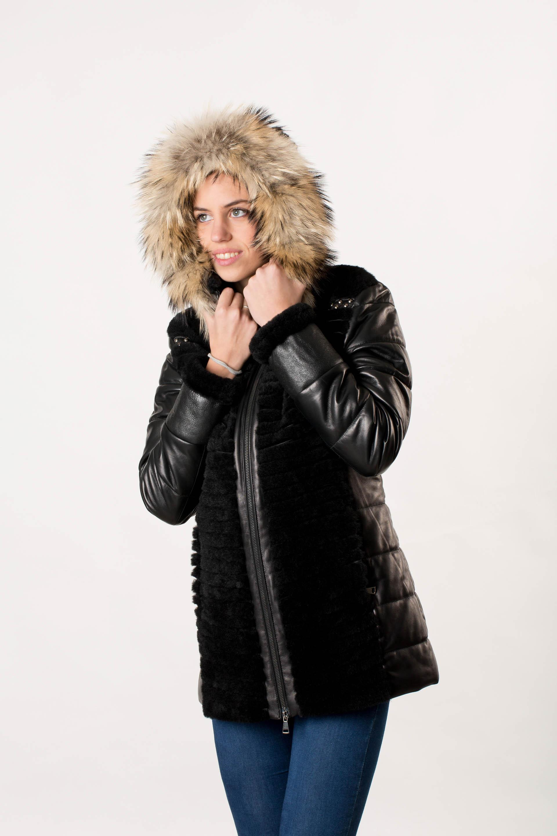 Parka for women black mutton shearling coat  747780e4ee04