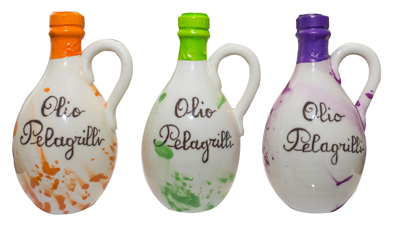 Ampolla in Ceramica olio extra vergine di oliva Nuovo Raccolto 2018-2019  Italiano estratto a freddo  Ceramica fatta e dipinta a mano in Umbria da lt. 0,25