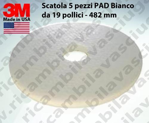 PAD 3M, 5 pieces, color white from 19 inch - 482 mm,  floor pad