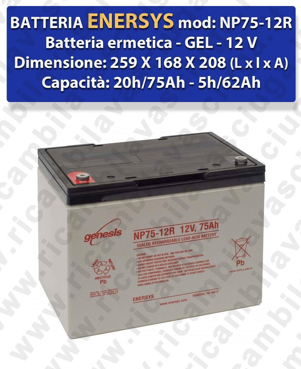 NP75-12R Battery  GEL  - ENERSYS - 12V 75Ah 20/h
