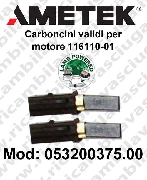 Couple carbon brush valid for vacuum motor  Lamb Ametek 116110-01. Cod: 053200375.00