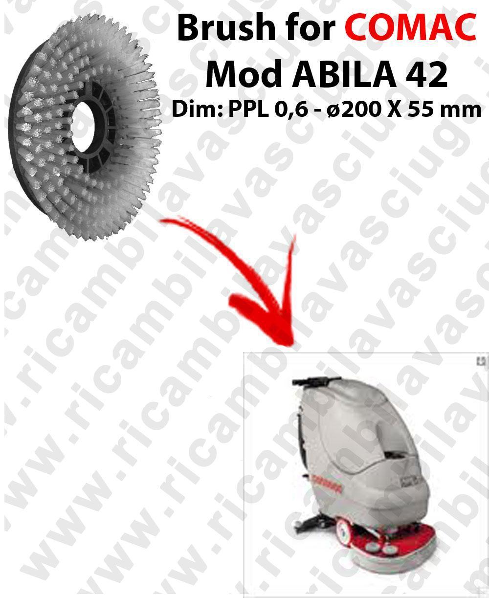 STANDARD BRUSH  for scrubber dryer COMAC ABILA 42 . model: PPL 0,6 - ⌀200 X 55 mm -  old