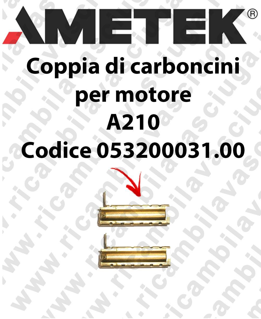Coupled carbon brush motor for vacuum motor  Ametek A210 Cod: 053200031.00