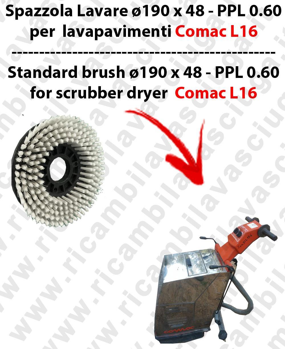 STANDARD BRUSH  for scrubber dryer COMAC model L16  ⌀ 190 x 48 - PPL 0.6