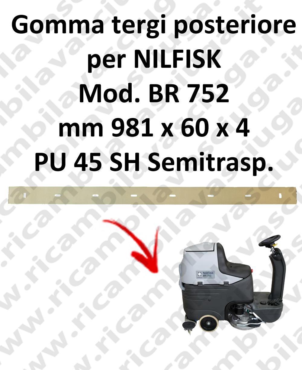 Squeegee rubber back for scrubber dryer NILFISK model BR 752