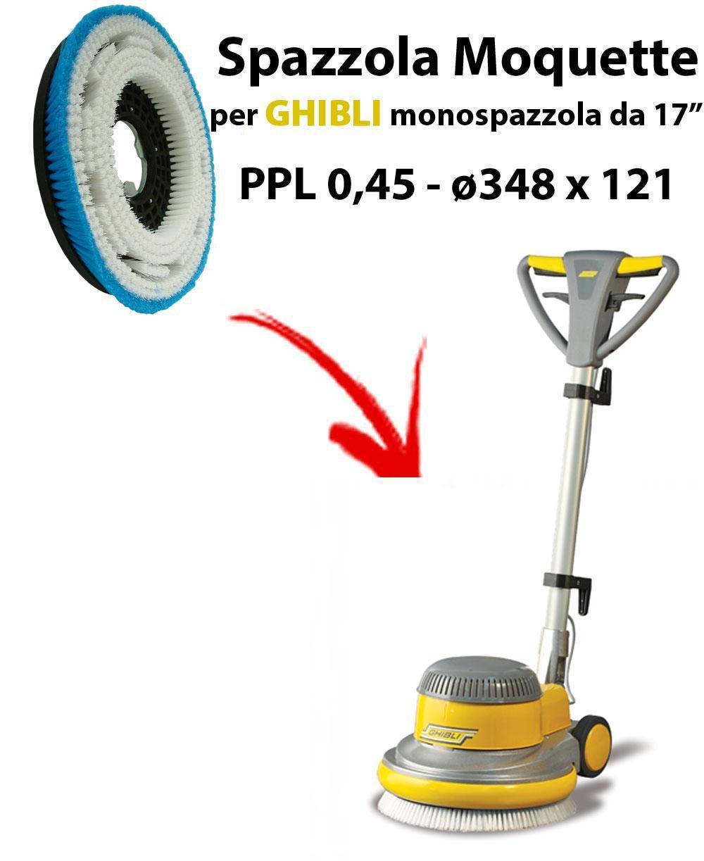MOQUETTE BRUSH for scrubber dryer COMAC ABILA 45. Model: PPL 0,45 C/FLANGIA ⌀348 X 121