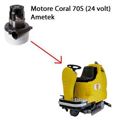 Coral 70 S - 24 volt Motore de aspiración AMETEK para fregadora Adiatek