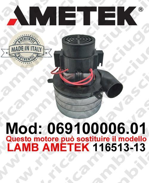 Motore de aspiración 069100006.01 AMETEK ITALIA para fregadora ,puede reemplazar el motor LAMB AMETEK 116513-13