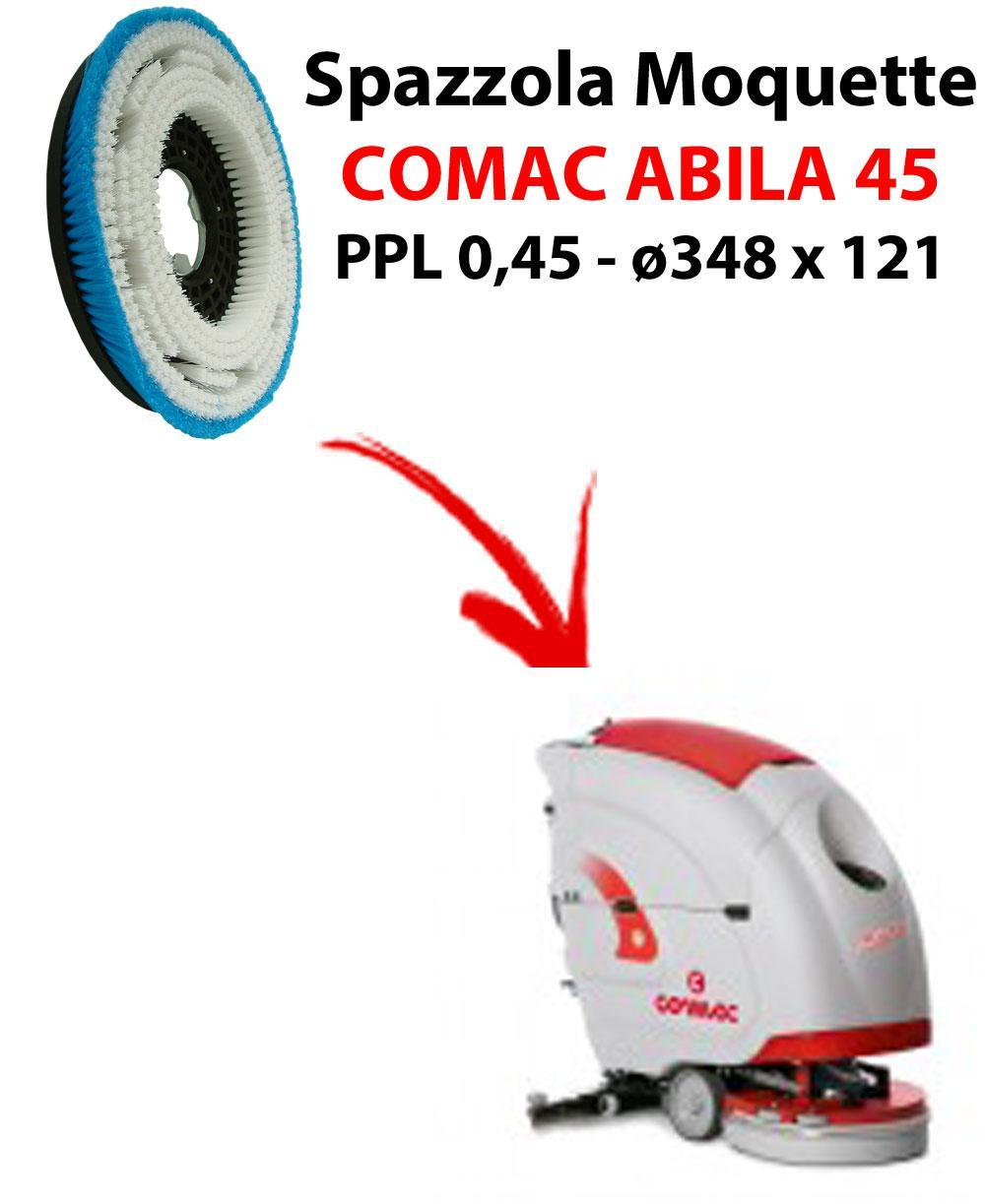 Cepillo MOQUETTE  para fregadora COMAC ABILA 45. modelo: PPL 0,45 C/FLANGIA ø348 X 121