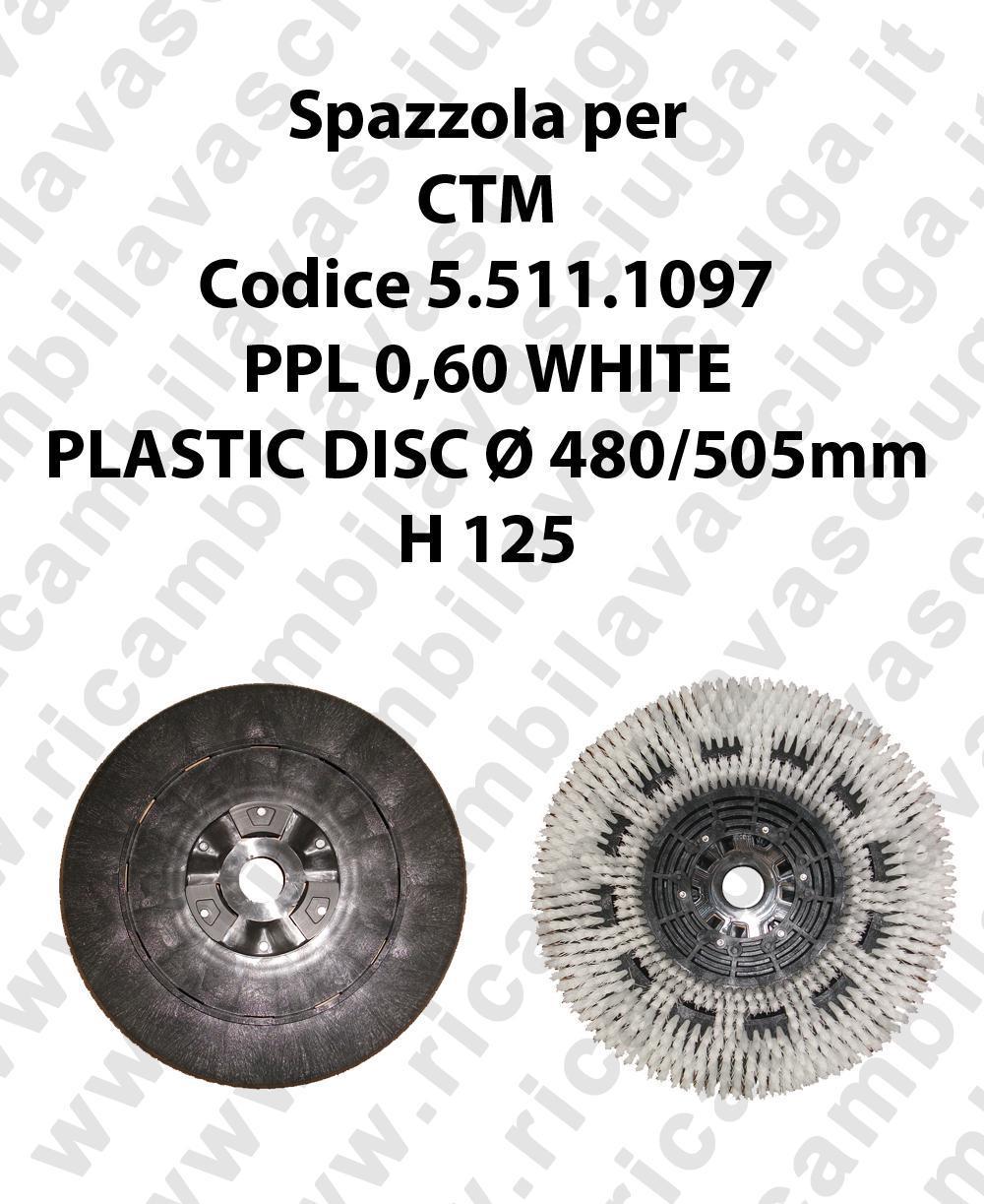 CEPILLO DE LAVADO PPL 0,60 WHITE para fregadora CTM codice 5.511.1097