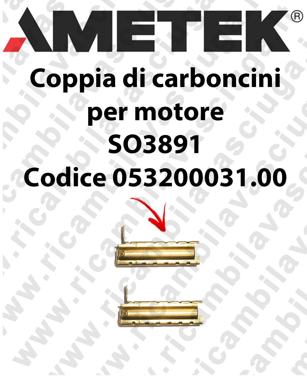COPPIA di Carboncini Motore de aspiración para motore  Ametek SO3891 Cod: 053200031.00