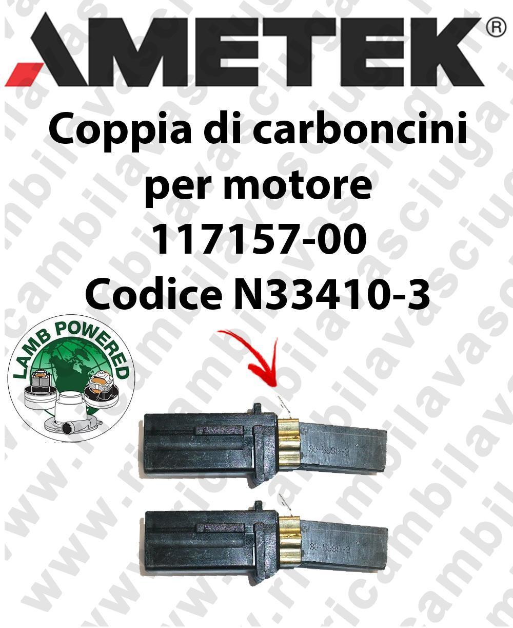 COPPIA di Carboncini Motore de aspiración para motore LAMB AMETEK 117157-00 cod. N33410-3