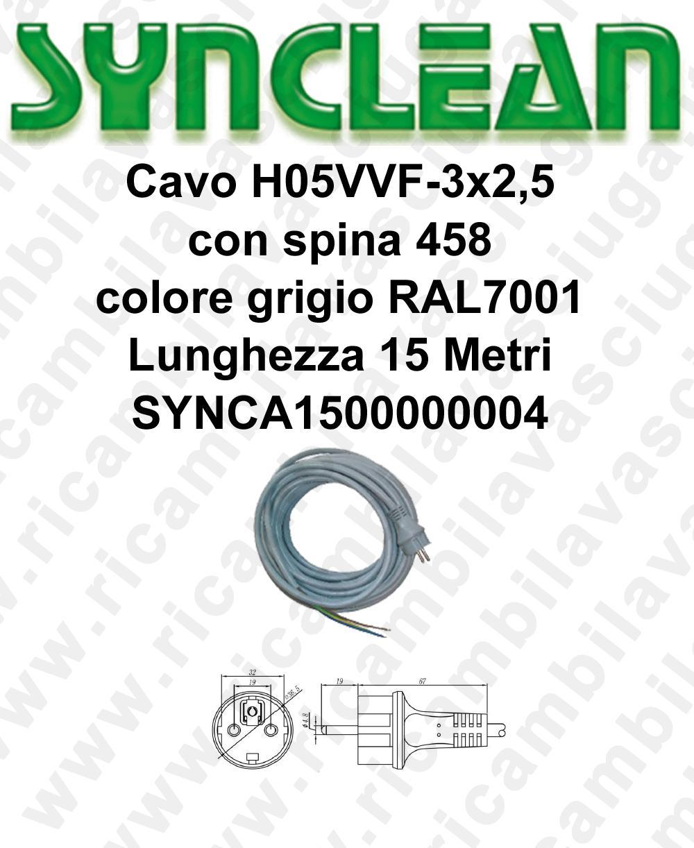 Cavo H05VVF 3 x 2,5 con spina 458 grigio lunghezza 15 metri para aspiradora y Monodisco