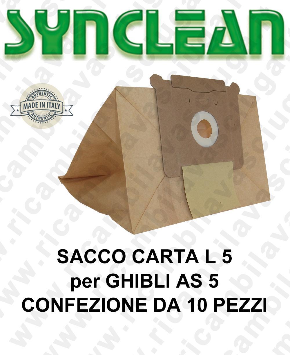 SACCO CARTA litri 5 para GHIBLI mod. AS 5 confezione da 10 pezzi
