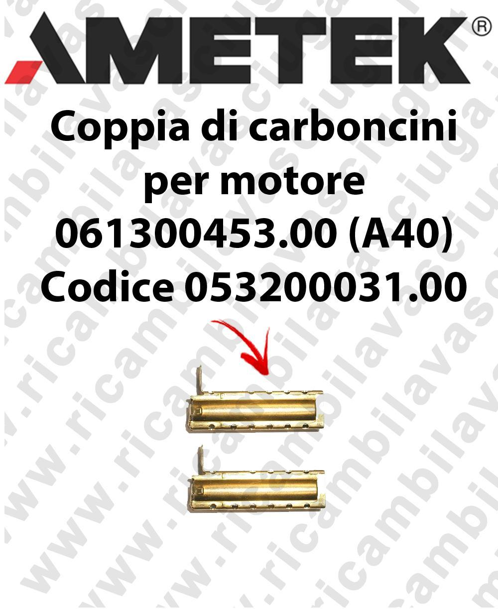 COPPIA di Carboncini motor de aspiración para motore Ametek 061300453.00 (A40) Cod: 053200031.00
