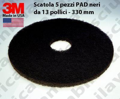 Schwarz Maschinenpads 3M 5 Stücke für Scheuersaugmaschinen und Einscheibenmaschinen 13.0 zoll 330 mm