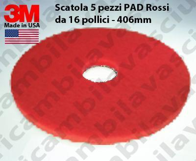 Rot Maschinenpads 3M 5 Stücke für Scheuersaugmaschinen und Einscheibenmaschinen 16.0 zoll 406 mm