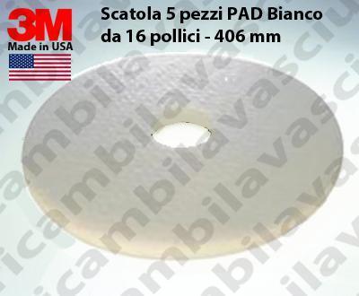 Weiß Maschinenpads 3M 5 Stücke für Scheuersaugmaschinen und Einscheibenmaschinen 16.0 zoll 406 mm