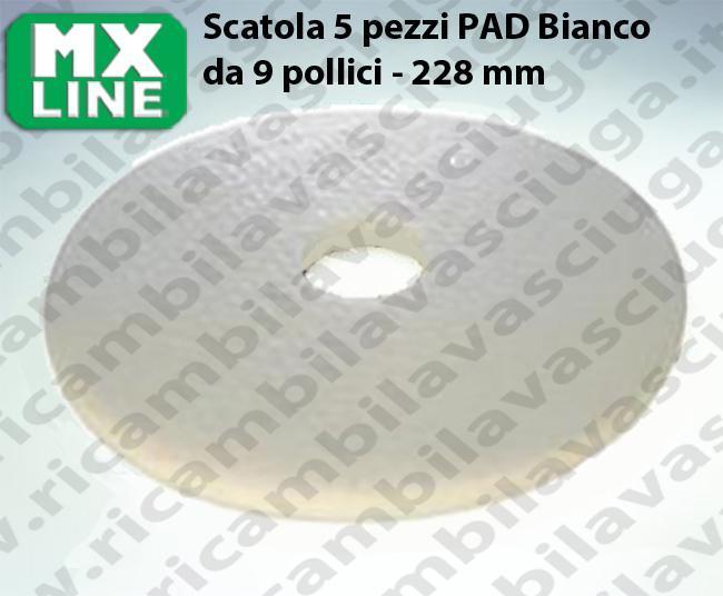 Weiß Maschinenpads MAXICLEAN 5 Stücke für Scheuersaugmaschinen und Einscheibenmaschinen 9.0 zoll 228 mm
