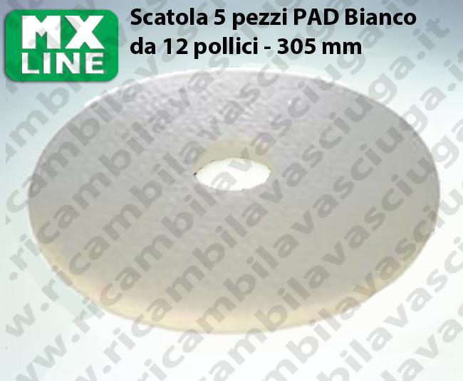 Weiß Maschinenpads MAXICLEAN 5 Stücke für Scheuersaugmaschinen und Einscheibenmaschinen 12.0 zoll 305 mm