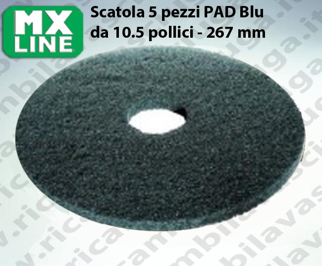 Blau Maschinenpads MAXICLEAN 5 Stücke für Scheuersaugmaschinen und Einscheibenmaschinen 10.5 zoll 267 mm
