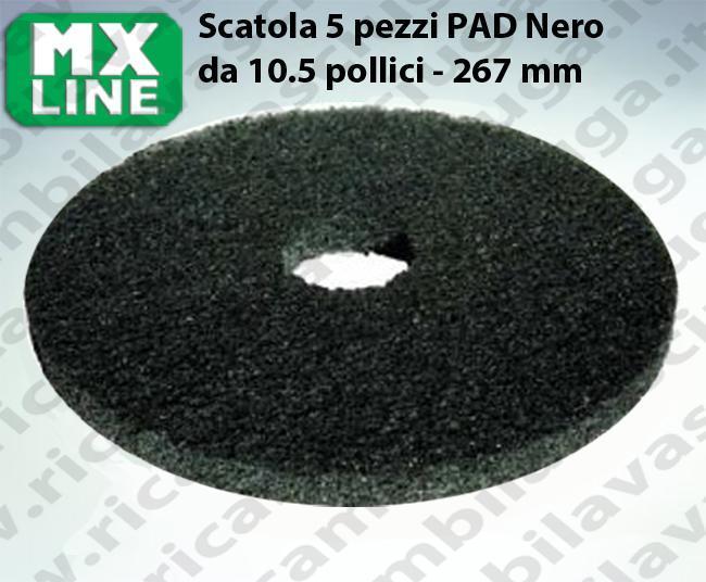 Schwarz Maschinenpads MAXICLEAN 5 Stücke für Scheuersaugmaschinen und Einscheibenmaschinen 10.5 zoll 267 mm