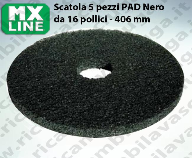 Schwarz Maschinenpads MAXICLEAN 5 Stücke für Scheuersaugmaschinen und Einscheibenmaschinen 16.0 zoll 406 mm