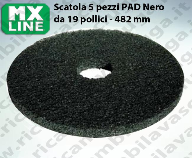 Schwarz Maschinenpads MAXICLEAN 5 Stücke für Scheuersaugmaschinen und Einscheibenmaschinen 19.0 zoll 482 mm