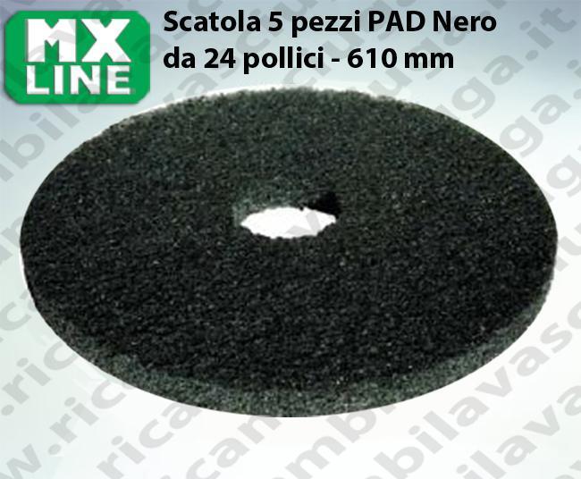Schwarz Maschinenpads MAXICLEAN 5 Stücke für Scheuersaugmaschinen und Einscheibenmaschinen 24.0 zoll 610 mm