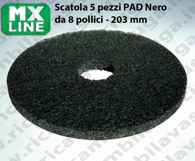 Schwarz Maschinenpads MAXICLEAN 5 Stücke für Scheuersaugmaschinen und Einscheibenmaschinen 8.0 zoll 203 mm