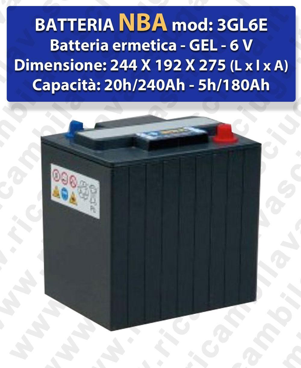 3GL6E Hermetische Batterie - Gel 6V 240Ah 20/h NBA
