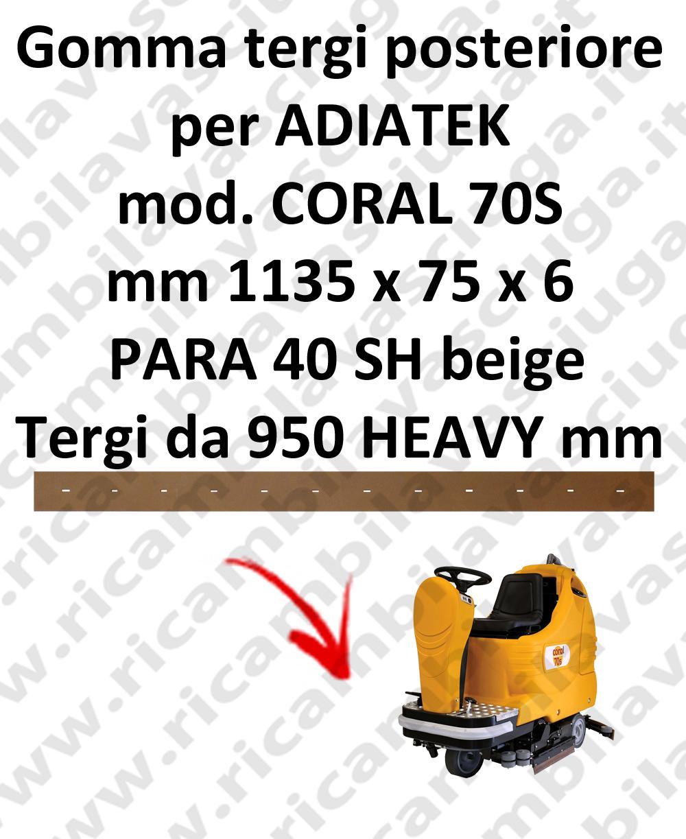 CORAL 70S BAVETTE ARRIERE pour autolaveuses ADIATEK (suceur long 950 mm)