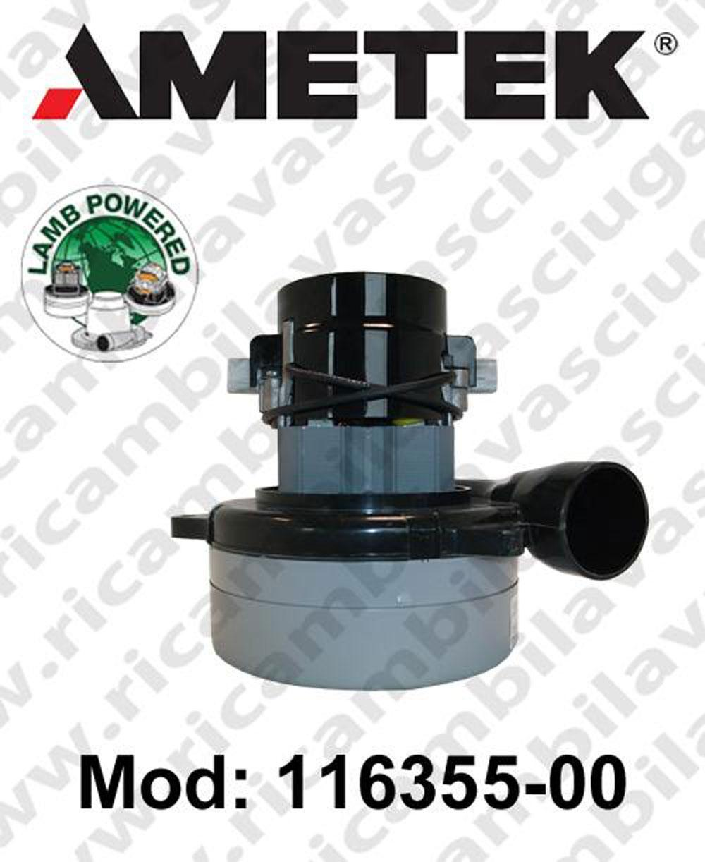 MOTEUR ASPIRATION 116355-00 LAMB AMETEK pour autolaveuses et aspirateur. valide pour reamplacer  IL 117275-07