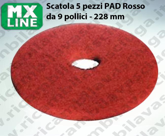 PAD MAXICLEAN 5 PIECES couleur ROUGE de 9 pouce - 228 mm | Synclean