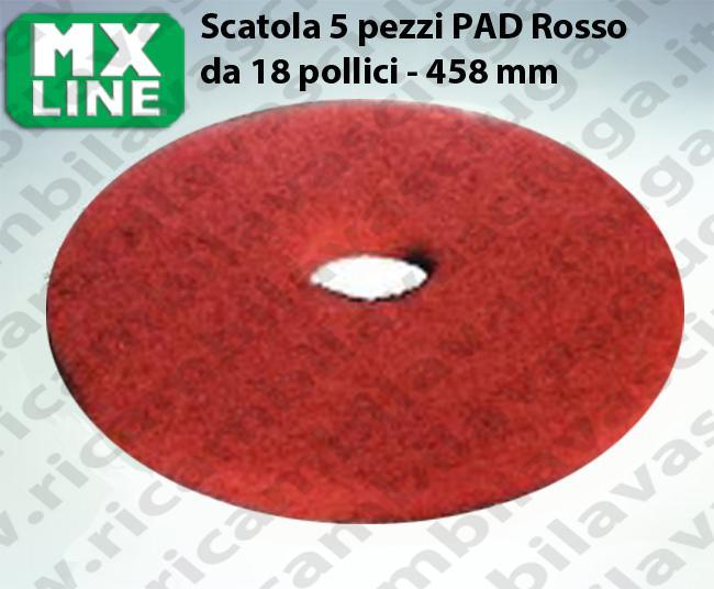 PAD MAXICLEAN 5 PIECES couleur ROUGE de 18 pouce - 458 mm | Synclean